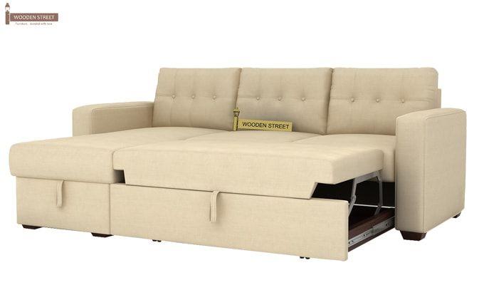 Alfonso Left Arm Convertible Sofa Cum Bed (Fabric, Cream)-8