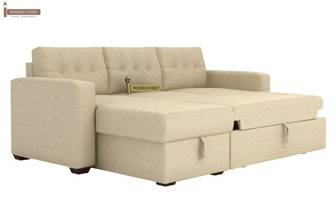 Alfonso Left Arm Convertible Sofa Cum Bed (Fabric, Cream)-9