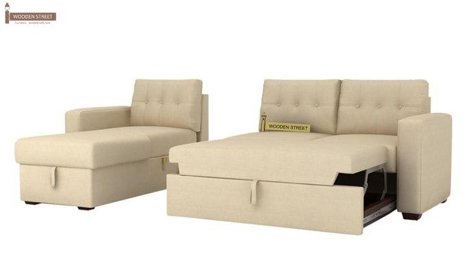 Alfonso Left Arm Convertible Sofa Cum Bed (Fabric, Cream)-10