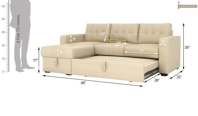 Alfonso Left Arm Convertible Sofa Cum Bed (Fabric, Cream)-16