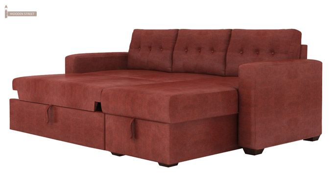 Alfonso Right Arm Convertible Sofa Cum Bed (Leatherette , Burnt Umber)-4