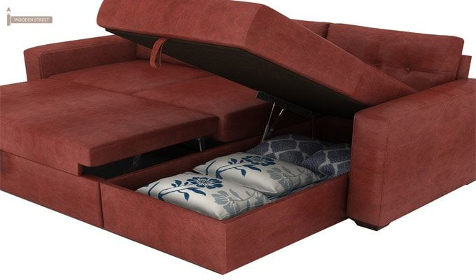 Alfonso Right Arm Convertible Sofa Cum Bed (Leatherette , Burnt Umber)-8