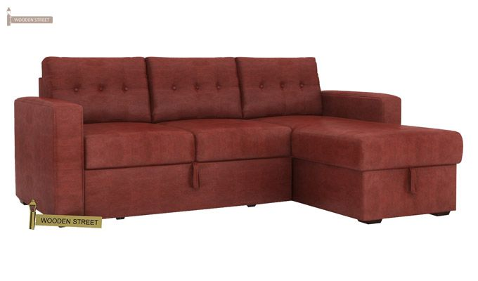 Alfonso Right Arm Convertible Sofa Cum Bed (Leatherette , Burnt Umber)-3