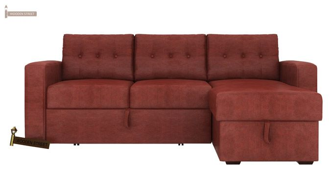 Alfonso Right Arm Convertible Sofa Cum Bed (Leatherette , Burnt Umber)-2