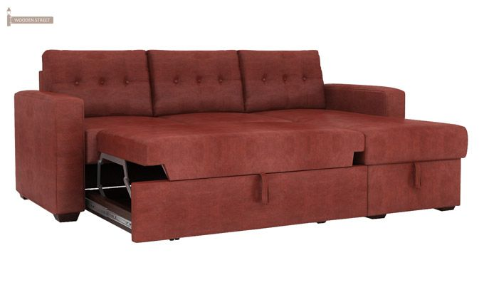 Alfonso Right Arm Convertible Sofa Cum Bed (Leatherette , Burnt Umber)-5