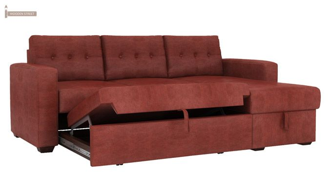 Alfonso Right Arm Convertible Sofa Cum Bed (Leatherette , Burnt Umber)-6