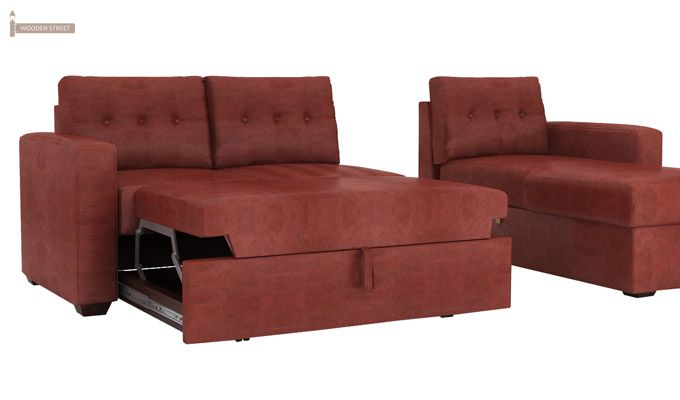 Alfonso Right Arm Convertible Sofa Cum Bed (Leatherette , Burnt Umber)-11