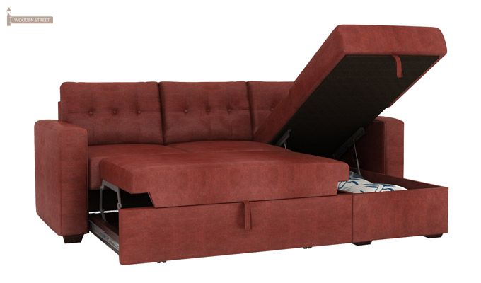 Alfonso Right Arm Convertible Sofa Cum Bed (Leatherette , Burnt Umber)-10
