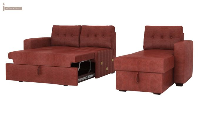 Alfonso Right Arm Convertible Sofa Cum Bed (Leatherette , Burnt Umber)-12