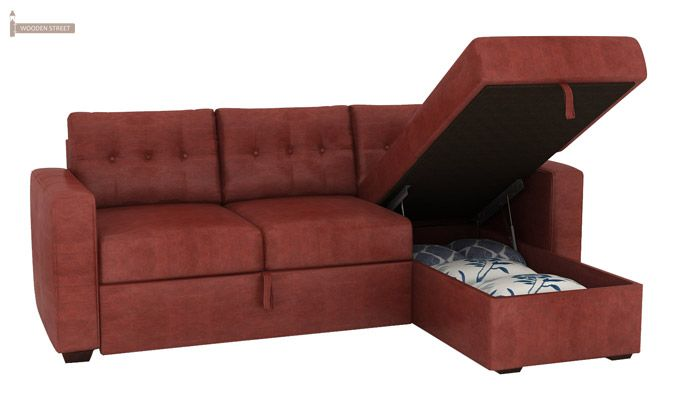 Alfonso Right Arm Convertible Sofa Cum Bed (Leatherette , Burnt Umber)-9