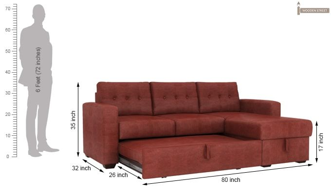 Alfonso Right Arm Convertible Sofa Cum Bed (Leatherette , Burnt Umber)-14