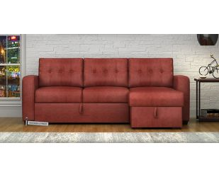 Alfonso Right Arm Convertible Sofa Cum Bed (Leatherette , Burnt Umber)