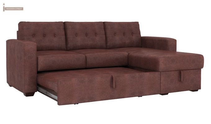 Alfonso Right Arm Convertible Sofa Cum Bed (Leatherette, Dark Chocolate)-7