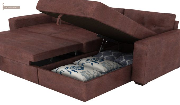 Alfonso Right Arm Convertible Sofa Cum Bed (Leatherette, Dark Chocolate)-8