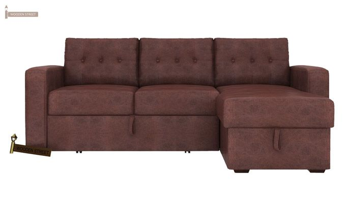 Alfonso Right Arm Convertible Sofa Cum Bed (Leatherette, Dark Chocolate)-2