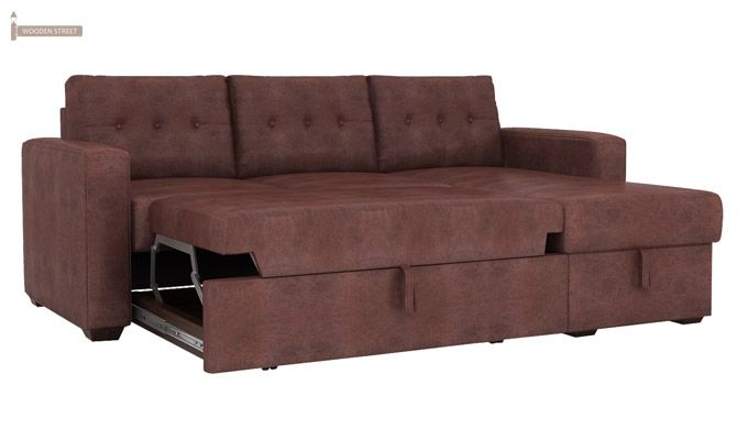 Alfonso Right Arm Convertible Sofa Cum Bed (Leatherette, Dark Chocolate)-5