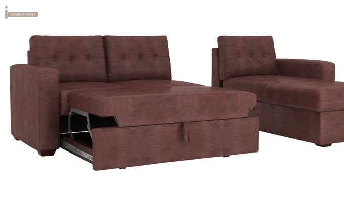 Alfonso Right Arm Convertible Sofa Cum Bed (Leatherette, Dark Chocolate)-11