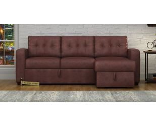 Alfonso Right Arm Convertible Sofa Cum Bed (Leatherette, Dark Chocolate)