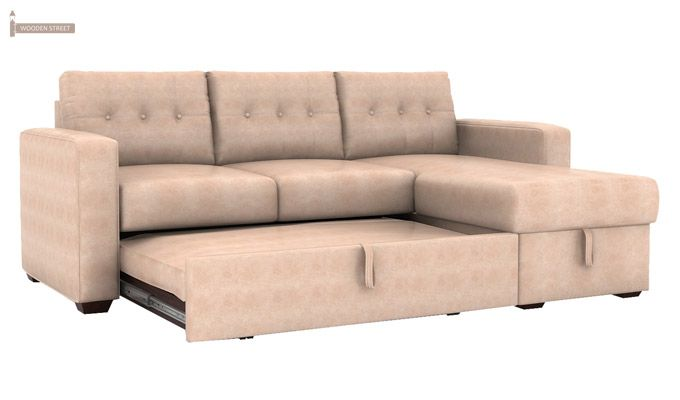 Alfonso Right Arm Convertible Sofa Cum Bed (Leatherette, Rose White)-7