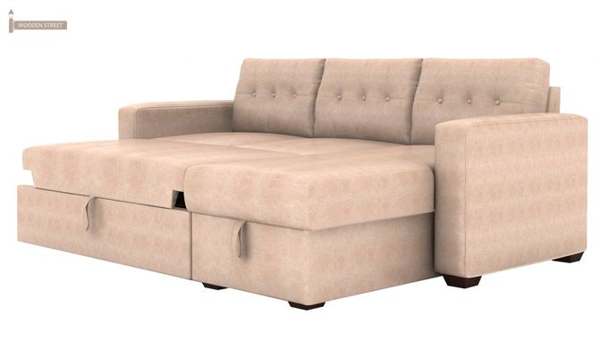 Alfonso Right Arm Convertible Sofa Cum Bed (Leatherette, Rose White)-4