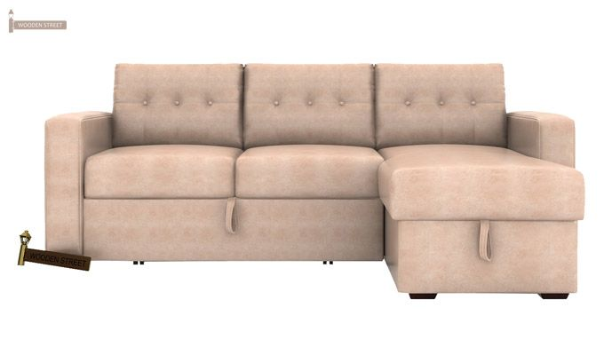 Alfonso Right Arm Convertible Sofa Cum Bed (Leatherette, Rose White)-2