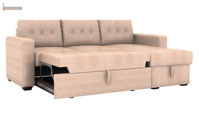 Alfonso Right Arm Convertible Sofa Cum Bed (Leatherette, Rose White)-5
