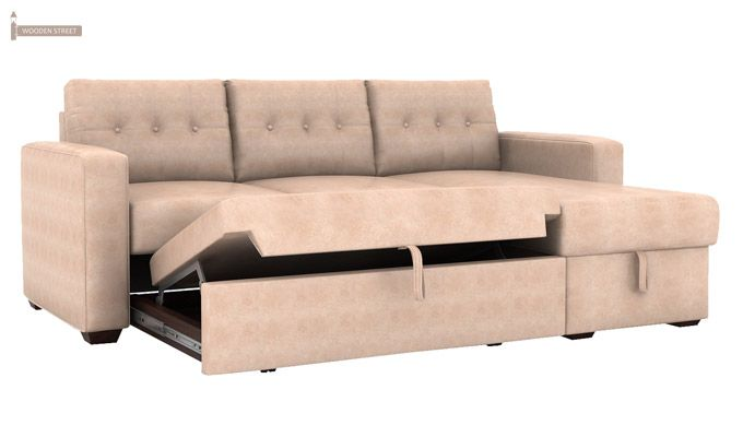 Alfonso Right Arm Convertible Sofa Cum Bed (Leatherette, Rose White)-6