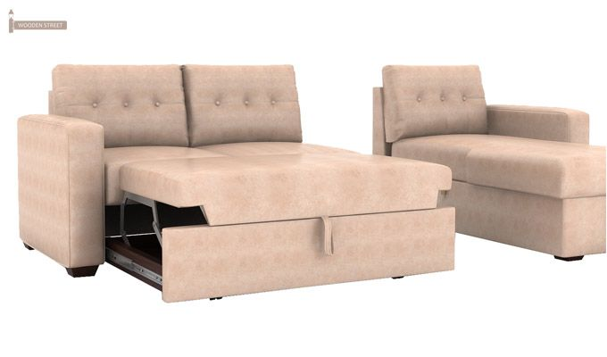 Alfonso Right Arm Convertible Sofa Cum Bed (Leatherette, Rose White)-11
