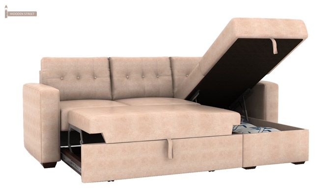 Alfonso Right Arm Convertible Sofa Cum Bed (Leatherette, Rose White)-9