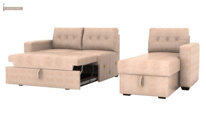Alfonso Right Arm Convertible Sofa Cum Bed (Leatherette, Rose White)-12