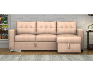 Alfonso Right Arm Convertible Sofa Cum Bed (Leatherette, Rose White)