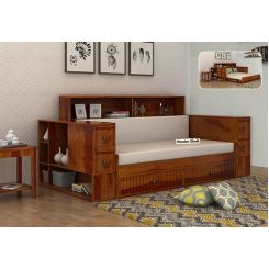 Arley Sofa Cum Bed (Queen Size, Honey Finish)