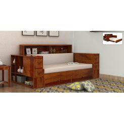 Arley Sofa Cum Bed (Queen Size, Honey Finish)