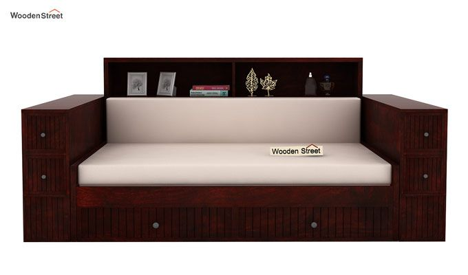 Arley Sofa Cum Bed (Queen Size, Mahogany Finish)-2