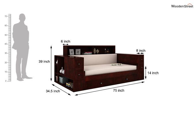 Arley Sofa Cum Bed (Queen Size, Mahogany Finish)-6