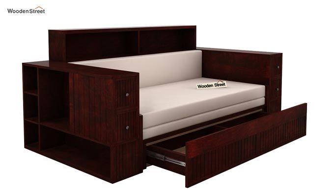 Arley Sofa Cum Bed (Queen Size, Mahogany Finish)-4
