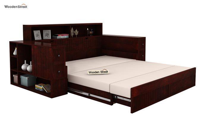 Arley Sofa Cum Bed (Queen Size, Mahogany Finish)-5