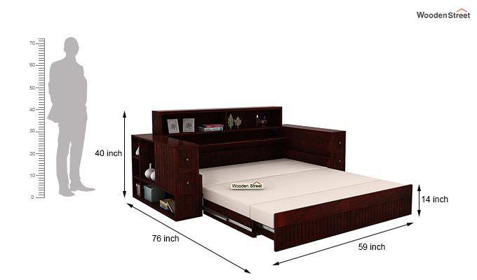 Arley Sofa Cum Bed (Queen Size, Mahogany Finish)-9