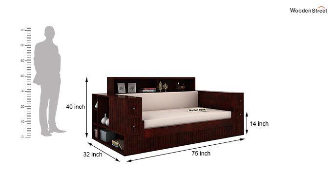 Arley Sofa Cum Bed (Queen Size, Mahogany Finish)-8
