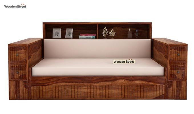 Arley Sofa Cum Bed (Queen Size, Teak Finish)-2
