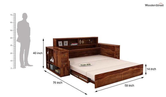 Arley Sofa Cum Bed (Queen Size, Teak Finish)-9