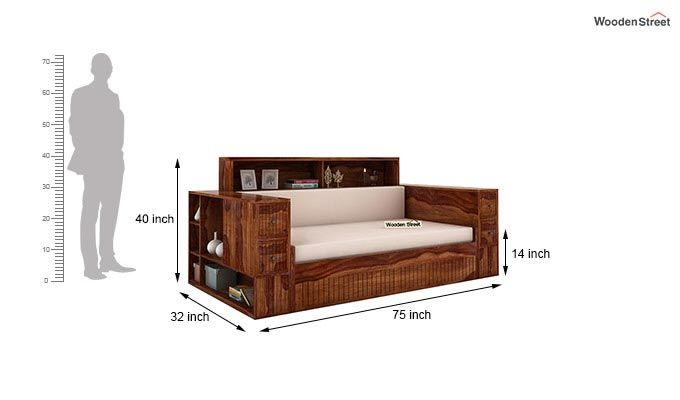 Arley Sofa Cum Bed (Queen Size, Teak Finish)-8