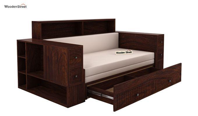 Arley Sofa Cum Bed (Queen Size, Walnut Finish)-3