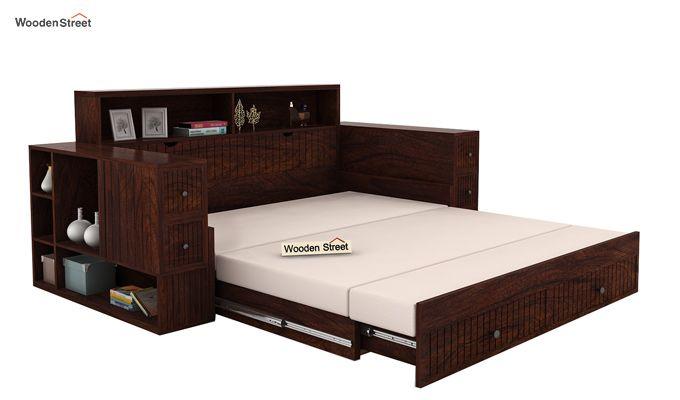 Arley Sofa Cum Bed (Queen Size, Walnut Finish)-4