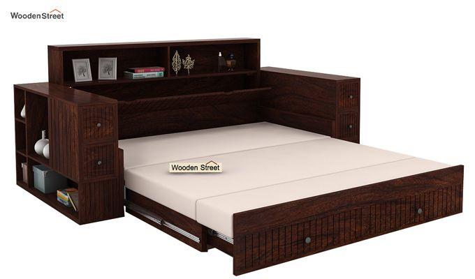 Arley Sofa Cum Bed (Queen Size, Walnut Finish)-5