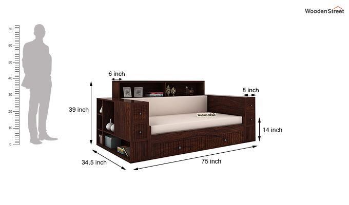 Arley Sofa Cum Bed (Queen Size, Walnut Finish)-6