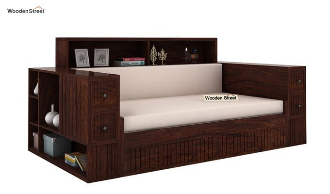 Arley Sofa Cum Bed (Queen Size, Walnut Finish)-1