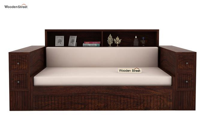 Arley Sofa Cum Bed (Queen Size, Walnut Finish)-2