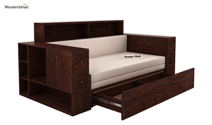 Arley Sofa Cum Bed (Queen Size, Walnut Finish)-4