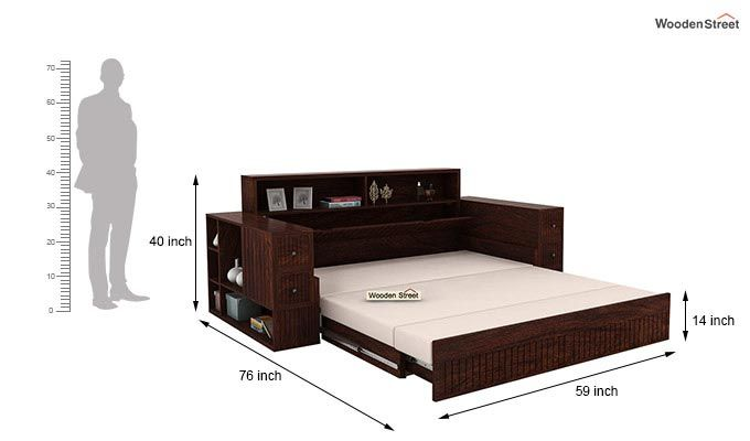 Arley Sofa Cum Bed (Queen Size, Walnut Finish)-9